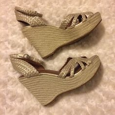 d82f774e7353 Lucky Brand Size 8 M Platforms Wedges Sandals Heels Light Gold Natural  Shoes