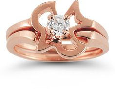 IF I GOT ANY SOLID GOLD< ROSE OR BLACK HILLS < NOT YELLOW   ApplesofGold.com - Christian Dove Diamond Engagement and Wedding Ring Set in 14K Rose Gold Wedding Jewelry $925.00