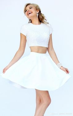 Wholesale Homecoming Dresses - Buy Modern 2014 Homecoming Dress Two Pieces White Tulle Graduation Gown with Beading And Crew Neck Short Prom Gown Custom Made, $116.24   DHgate