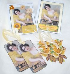 Victorian Lady in Yellow Card and Tags Gift Set by RavensCards, $7.00