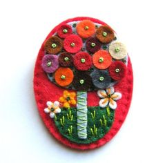 Tree felt brooch with freeform embroidery