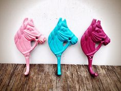 Set of 3 Little Horse Wall Hooks - Aqua Blue Powder Pink & Magenta - Baby Girl Cowgirl Nursery