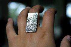 Rectangular Hammered Shield ring