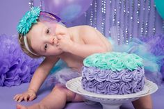 Purple and teal cake smash! By TwoKnights Photography