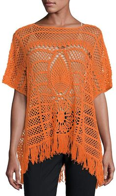 Trina Turk Women's Kimber Cotton Poncho Designer Blouse Patterns, Crochet For Beginners, Trina Turk, Cotton Lace, Feminine Style, Crochet Top, Pattern Design, Clothes For Women, Popular Art