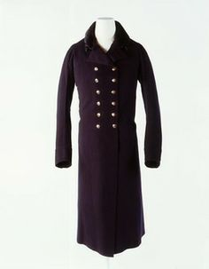 Greatcoat of dark blue facecloth. Museum of London. Tailored 1803 by John Weston of Old Bond St.