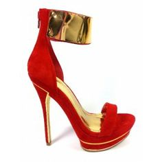 cuff sandals rood met goud. I need these in my closet ready for me to step out & be foot fly