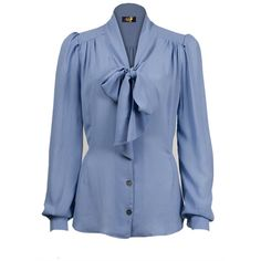 40s Pussy Bow Blouse blue crepe (£50) ❤ liked on Polyvore featuring tops, blouses, shirts, dot blouse, polka dot shirt, blue shirt, blue polka dot blouse and crepe blouse