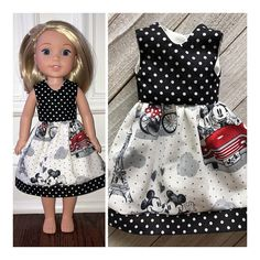 Doll Clothes/Wellie Wishers Doll Dress/Minnie & Michey Paris Dress/American Girl Doll Clothes/Wellie Wishers Doll Clothes by SunnyGardenThreads American Girl Clothes, Girl Doll Clothes, Doll Clothes Patterns, Girl Dolls, American Dolls, Doll Patterns, Clothing Patterns, Trendy Outfits, Girl Outfits