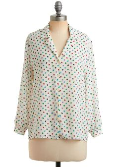 Vintage It Takes a Leaf Top. Capture attention and accolades in this fresh, vintage, button-up top!  #modcloth