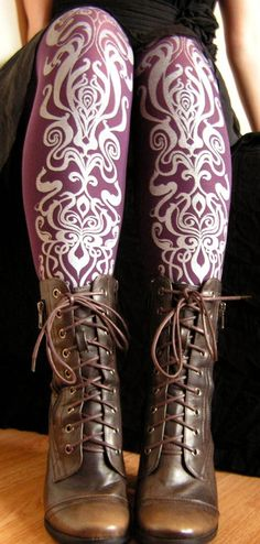 Printed Tights Small/Medium Art Nouveau Pattern Purple and Silver