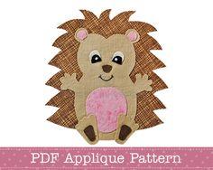 Hedgehog Applique Template PDF Baby Hedgehog by AngelLeaDesigns Applique Templates, Applique Patterns, Applique Designs, Quilt Patterns, Embroidery Thread, Embroidery Applique, Machine Embroidery, Motifs D'appliques, Baby Hedgehog