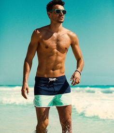 Color block mens swim trunks, love the shorties.
