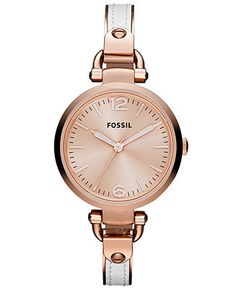 Fossil Watch, Women's Georgia White Leather and Rose Gold Tone Stainless Steel Bangle Bracelet 32mm ES3261 - Fossil - Jewelry & Watches - Ma...