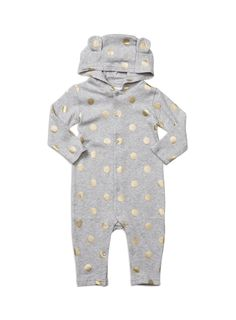 Hooded printed all-in-one from Charlie&me baby range. Grey marle sizes 0-3m to 2. Style W6CF19001.