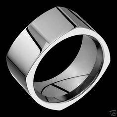 10mm Womens Mens Titanium Ring Anniversary Wedding Band Square Engagement AlainRaphael