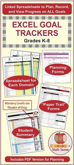These Excel spreadsheet for Grades K-8 have linked worksheets that make it quick and easy to plan and track progress on student-friendly math goals, All goals are aligned to Common Core. Plus, you can add custom goals. See reports for a whole class or an individual student. ~by Angie Seltzer