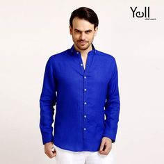 A men's wardrobe is incomplete without the colour blue.   Give your wardrobe a royal makeover with this electric blue shirt from Yell!