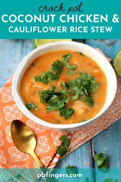 Crock Pot Coconut Chicken Cauliflower Rice Stew is a warm, satisfying and healthy recipe. The perfect weeknight dinner! Chicken Cauliflower, Coconut Chicken, Top Recipes, Turkey Recipes, Healthy Recipes, Healthy Dinners, Wine Recipes, Slow Cooker Recipes, Crockpot Recipes