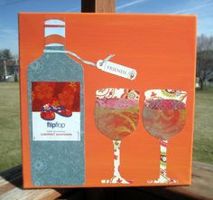 Decoupage Wine kitchen art  by LinseyRundell on Etsy, $40.00