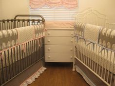 Grey Elephant bedding for girl and boy twins in the nursery