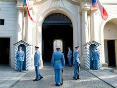 """Changing of the Guard """"No traditional costumes here: Modern-day pageantry marks the changing of the guard at the gates of Prague Castle, a complex that includes royal residences and churches."""""""