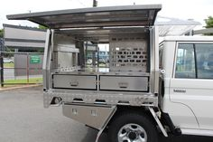 We build the strongest aluminium ute canopies on the market. Norweld can design and manufacture an aluminium canopy to suit your needs and budget. Cruiser Car, Toyota Land Cruiser, Truck Flatbeds, Trucks, Pickup Canopy, Ute Canopy, Ute Trays, Mobile Workshop, Slide In Camper