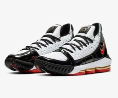 newest 7b371 a0add Nike LeBron 16 SB Blanc Noir Rouge comète pas cher - Baskets Homme Nike