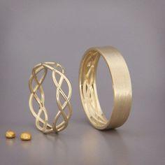 14K Gold Eternity Wedding Rings Set  Handmade solid 14k gold