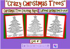 """Christmas Tree Coloring Pages """"Crazy Christmas Trees"""" Set # 1 from The Purple Bee Classroom on TeachersNotebook.com (3 pages)"""