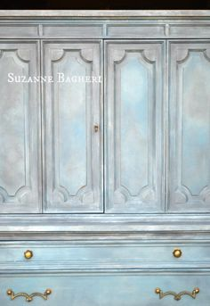 Painted Armoire in Annie Sloan Chalk Paint color mix by Suzanne Bagheri, The Painted Drawer Chalk Paint Wardrobe, Painted Wardrobe, Armoire Wardrobe, Annie Sloan Chalk Paint Colors, Annie Sloan Paints, Painted Armoire, Painted Drawers, Chalk Paint Projects, Chalk Paint Furniture