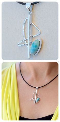 Pendant Necklace  ||  Sterling Silver, Natural Blue Larimar  ||  Geometry Collection, Contemporary Design  ||