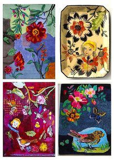 Three rugs by artist Nathalie Lete (ceramic plate via Anthropologie). Image © Nathalie Lete.