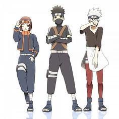 Team Minato, Rin, Kakashi, Obito, change clothes, cute, funny; Naruto