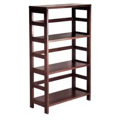 3-Shelf Wooden Shelving Unit Bookcase in Espresso Finish - Quality House