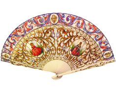 Hand Painted Fan Intricately Carved Wood Antique
