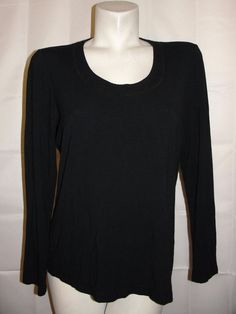 by Chico's Top Women's Sz 2 Large Black Scoop Neck Stretch Rayon LSleeve Shirt #Chicos #KnitTop #Casual
