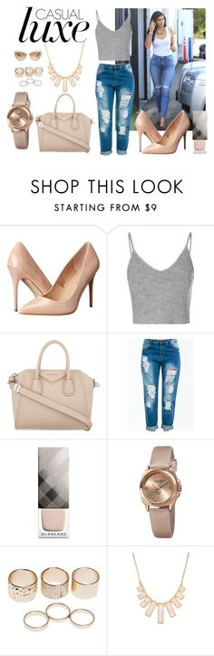 """""""Casual Luxe"""" by marinak06 ❤ liked on Polyvore featuring 7 For All Mankind, Madden Girl, Glamorous, Givenchy, Burberry, Akribos XXIV, Wet Seal, Rivka Friedman and Miu Miu"""