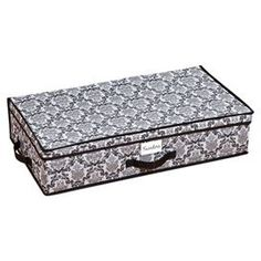 "Underbed storage box with a damask motif.Product: Storage boxConstruction Material: PolyesterColor: Black and whiteDimensions: 6"" H x 28"" W x 16"" D"