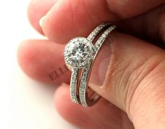 2.00Ct Round Diamond Engagement Halo Wedding Ring Set in 14k White Gold Over #ElleDiamond #BridalRingSet #EngagementWeddingAnniversary