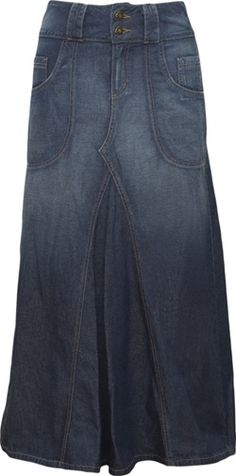 Ahha!  Great modest jean skirt. Why are these so hard to find?
