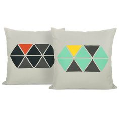Geometric pillow cover - ClassicByNature via Etsy.  love the aqua/gray/yellow