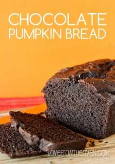 Dark Chocolate Pumpkin Bread Recipe - she uses whole wheat & yogurt to make it healthy & turn it into a breakfast ok food. I baked for 50 minutes and added tsps of pumpkin pie spice Just Desserts, Delicious Desserts, Dessert Recipes, Yummy Food, Breakfast Recipes, Breakfast Ideas, Pumpkin Recipes, Fall Recipes, Pumpkin Pumpkin