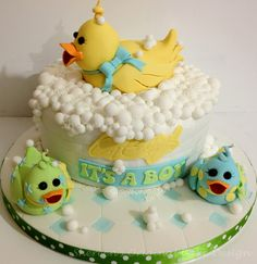 Duck themed baby shower cake