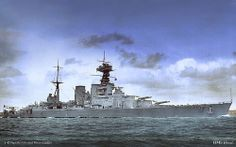 """HMS Hood - sunk by Bismark in """"The Battle of Denmark Strait"""" on May 24 1941.  From a crew of 1,418 only 3 survivors were pulled alive from the water."""