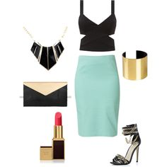 """mint and black"" by nushee on Polyvore"