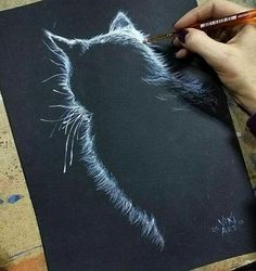 Would be neat done in stitched… - Painting Techniques Art Sketches, Art Drawings, Drawings On Black Paper, Pencil Drawings, Drawn Art, Art Graphique, Chalkboard Art, Art Plastique, Pencil Art