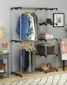 "This free-standing <a href=""http://amzn.to/1szWQVW"" target=""_blank"">closet</a> for when you inevitably run out of real closet space."