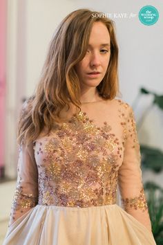 Gorgeous dark details on bodice with hints of sparkly gold and an off-white skirt on a Sarah Seven wedding dress // We're back with more refreshing New York Bridal Fashion Week finds from Milamira and Sarah Seven! Like your favs, Wedding Scoopers! // : Sophie Kaye Photography for The Wedding Scoop