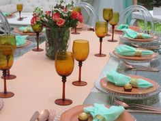 Baby Shower Mint and Peach Table Settings, Peach, Mint, Baby Shower, Table Decorations, Furniture, Home Decor, Babyshower, Decoration Home